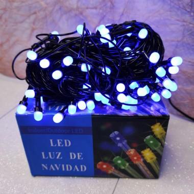 Гирлянда черный провод круглая матовая лампа 7 м 100LED 8 режимов синий