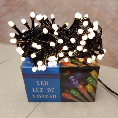 Гирлянда черный провод круглая матовая лампа 6.5 м 100LED 8 режимов теплый белый