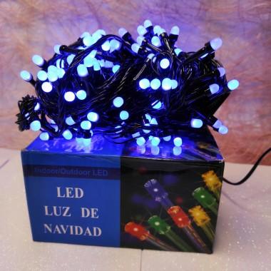 Гирлянда черный провод круглая матовая лампа 13 м  200LED 8 режимов синий