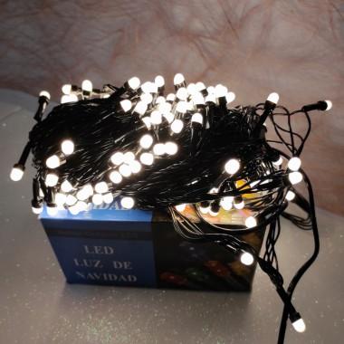 Гирлянда черный провод круглая матовая лампа 13 м 200LED 8 режимов теплый белый