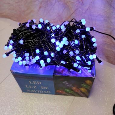 Гирлянда черный провод круглая матовая лампа 13 м  300LED 8 режимов синий