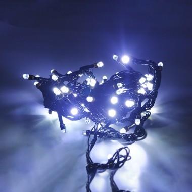 Гирлянда черный провод лампа Рубинка 7 м 100LED 8 режимов белый