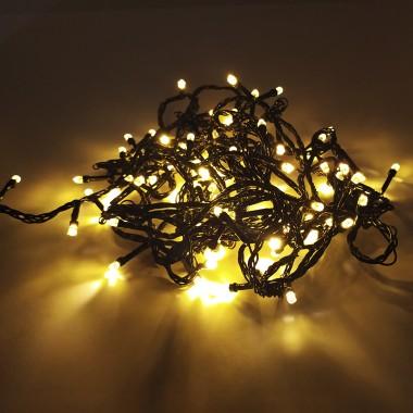 Гирлянда черный провод лампа Рубинка 7 м 100LED 8 режимов теплый белый