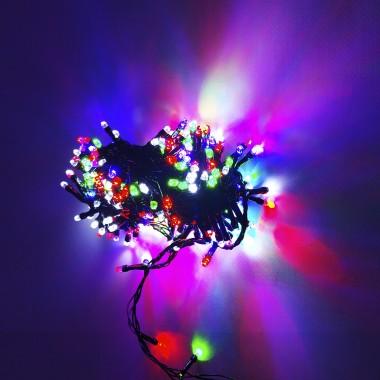 Гирлянда черный провод лампа Рубинка 18 м 300LED 8 режимов микс