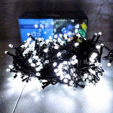 Гирлянда черный провод лампа Рубинка 16.5 м 400LED 8 режимов белый