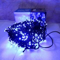Гирлянда черный провод лампа Рубинка 18.5 м 500LED 8 режимов синий