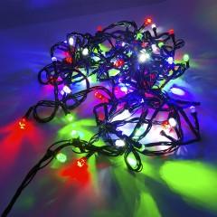 Гирлянда черный провод лампа Рубинка большая 8.5 м 100LED 8 режимов микс