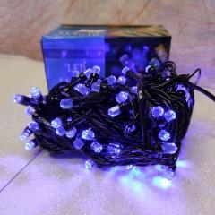 Гирлянда черный провод лампа Рубинка большая 7 м 100LED 8 режимов синий