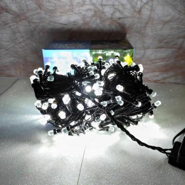 Гирлянда черный провод лампа Рубинка большая 15.5 м 300LED 8 режимов белый
