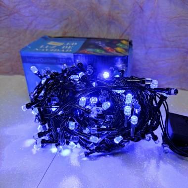 Гирлянда черный провод лампа Рубинка большая 13.5 м 300LED 8 режимов синий