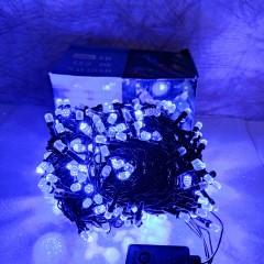 Гирлянда черный провод лампа Рубинка большая 25 м 400LED 8 режимов синий