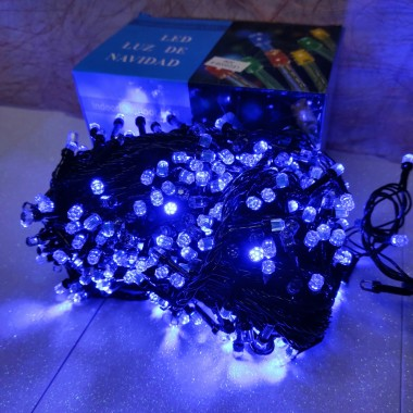 Гирлянда черный провод лампа Рубинка большая 30 м 500LED 8 режимов синий