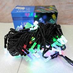 Гирлянда черный провод матовая гексагональная лампа 7 м 100LED 8 режимов микс