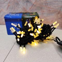 Гирлянда черный провод матовая гексагональная лампа 7 м 100LED 8 режимов теплый белый