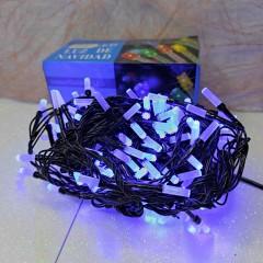 Гирлянда черный провод матовая гексагональная лампа 9.5 м 200LED 8 режимов синий