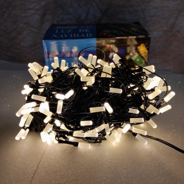 Гирлянда черный провод матовая гексагональная лампа 9.5 м  200LED 8 режимов теплый белый