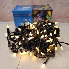 Гирлянда черный провод матовая лампа 9.5 м 200LED 8 режимов теплый белый