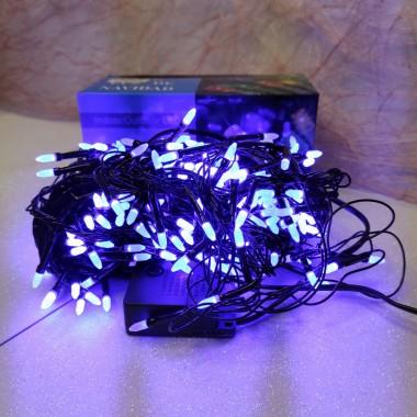 Гирлянда черный провод матовая лампа 16.5 м 400LED 8 режимов синий
