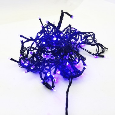 Гирлянда черный провод прозрачная коническая лампа 7 м 100LED 8 режимов синий