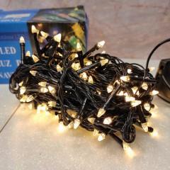Гирлянда черный провод прозрачная коническая лампа 14 м 200LED 8 режимов теплый белый