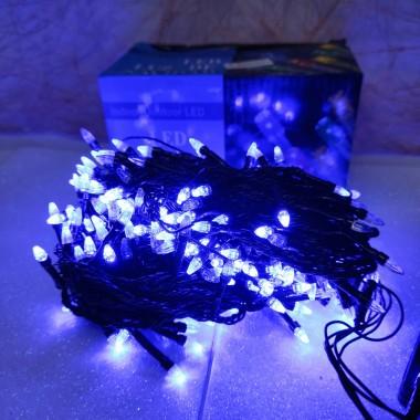 Гирлянда черный провод прозрачная коническая лампа 13.5 м 300LED 8 режимов синий