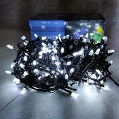 Гирлянда черный провод прозрачная коническая лампа 16.5 м 400LED 8 режимов белый