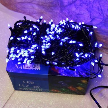 Гирлянда черный провод прозрачная коническая лампа 16.5 м 400LED 8 режимов синий