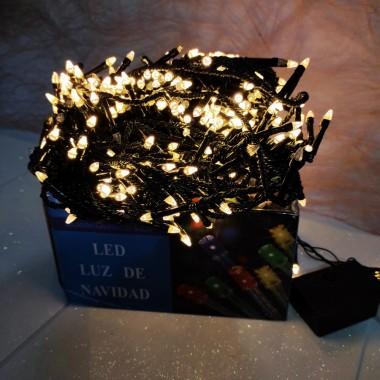 Гирлянда черный провод прозрачная коническая лампа 24 м 400LED 8 режимов теплый белый