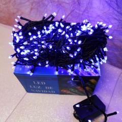 Гирлянда черный провод прозрачная коническая лампа 19.5 м 500LED 8 режимов синий