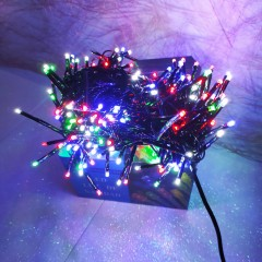 Гирлянда черный провод цилиндрическая маленькая лампа 5.5 м  100LED 8 режимов микс