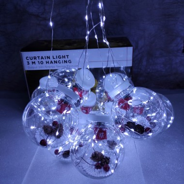 Гирлянда медный провод Штора прозрачные шары с наполнением 3 м Х 0,7 м 200LED белый