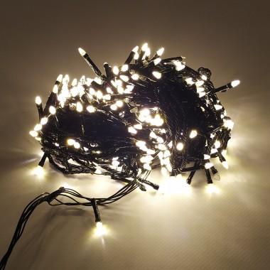 Гирлянда черный провод прозрачная коническая лампа  500LED 26 м 8 режимов теплый белый