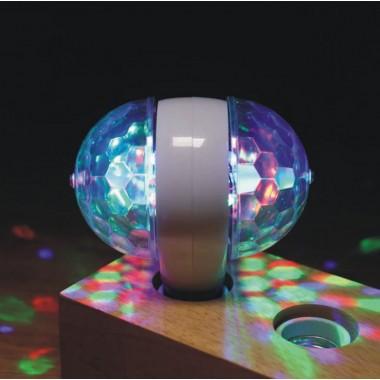 Вращающаяся разноцветная лампа светодиодная  на две лампочки  мульти