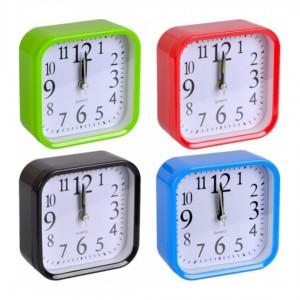 Настольные часы - будильник с закругленными углами 9,5х9,5х4 см