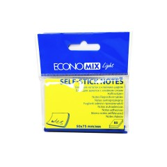 """Блок для нотаток з клейким шаром 50*75мм.""""Economix Light-27931"""" 80арк.жовтий"""