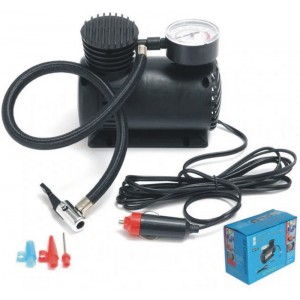 Компрессор для подкачки колес автомобильный Air Compressor на 1 ат. с манометром + набор иголок.