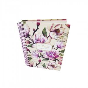 Блокнот А5 Астра на пружине Цветы Винтаж 80 листов в линию твердая обложка