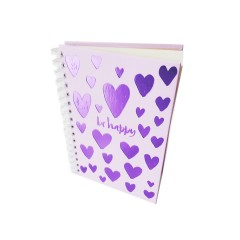 Блокнот А5 Астра на пружине Сердечки 80 листов в линию твердая обложка