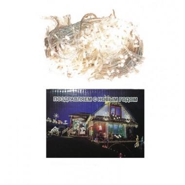Светодиодная гирлянда 40м 500LED свеча матовая с прозрачным проводом жёлтый