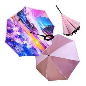 Зонт обратный женский трость в ассортименте длина 80см. D106см
