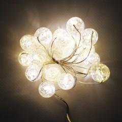 Светодиодная гирлянда 2м 20 лампочек в форме шара на батарейках АА3 белый  тёплый