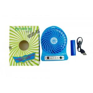 Вентилятор переносной настольный USB 13,5*10см 2wat. + фонарик цв. синий